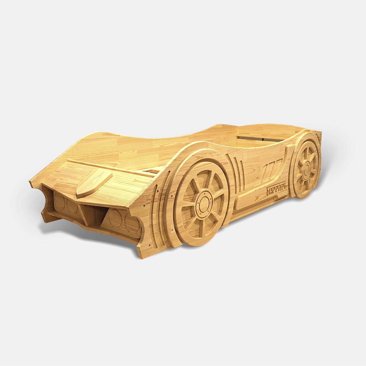 Детская кровать машина из дерева без спойлера  (3)